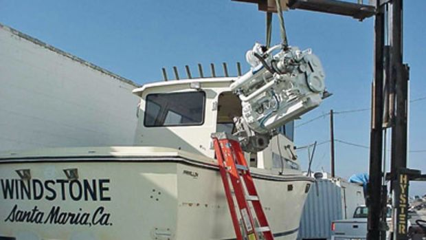 The repowering of this 25-foot Farallon involved a total reconstruction of the boat from the cabin aft.