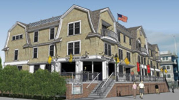 The shingle-style building is designed to blend with its historic neighborhood.