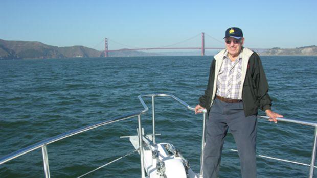 Lyngso on the bow as Lena approaches the Golden Gate Bridge.