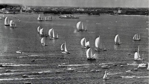 This newspaper image shows the start of the St. Petersburg-Havana Yacht Race in the late 1950s. The United States has begun to reverse a policy of the George W. Bush administration, which put an end to American participation in regattas and fishing tournaments in Cuba. Now one of each is happening in May.