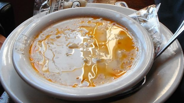 The clam chowder at The Grog in Newburyport, Massachusetts, is renowned in the region. Note how the butter floats on the surface of the creamy broth.