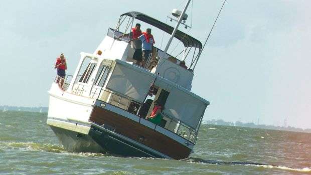 Photo of boat listing to the side