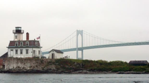 The Rose Island Lighthouse, with the foghorn building on the left, as seen by guests arriving on Starfish, a 32-foot Jarvis Newman lobster boat.