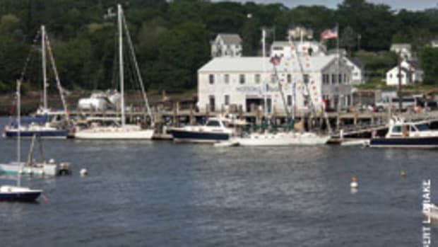 Sabre sailing and power yachts tied up at Wotton's Wharf. About 60 yachts attended.