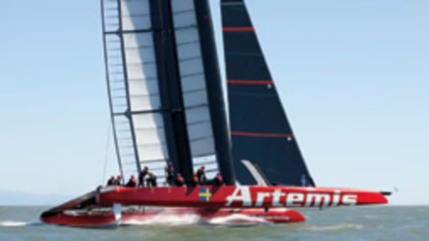 AC72s are powered primarily by a rigid wingsail and are capable of heart-pounding speeds.