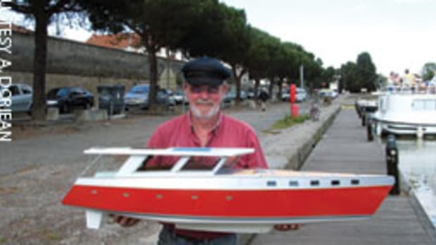 Len Doriean created a working model of D'autre part, the cruising boat he and his son, Peter, conceptualized.