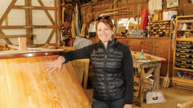 Jenn Kuhn is building Pintail, a Hooper Island-style draketail, with the help of volunteers at Chesapeake Bay Maritime Museum.