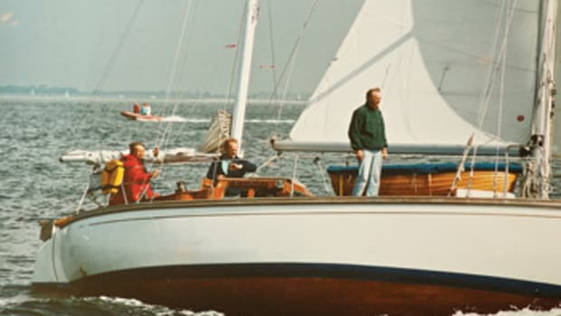 Gerhild Wiendieck at the helm of her spidsgatter-ketch Astarte, which she raced and cruised extensively.