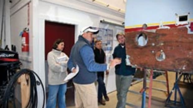 A team from Yachting Solutions spearheads the repowering of a 1954 Huckins motoryacht.