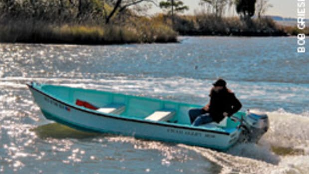 The Crab Alley 1600 is a tradtional skiff that will not sink, burn or rot, says the builder.