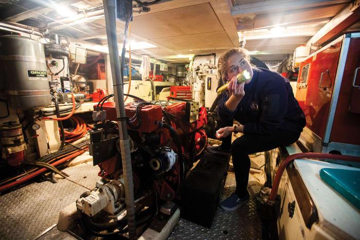 Hannah makes an engine room check
