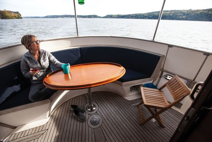 Jeanne-Marie enjoys the ride on the fantail.