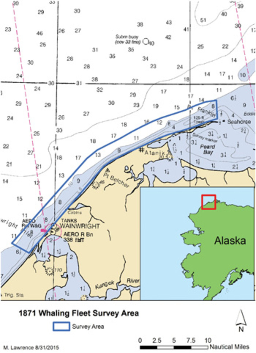 The NOAA team searched a 30-mile stretch of water off Wainwright, Alaska.