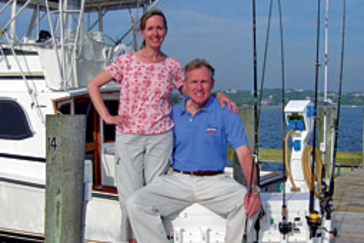 A professional couple with a mutual passion for fishing aboard their 43-foot Egg Harbor have developed a new product - the Holzster rod rack.