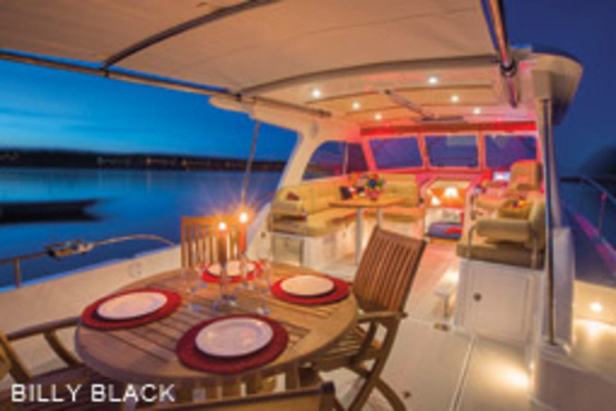 The single-level pilothouse and cockpit areas form a big space for socializing, with a retractable SureShade cover.