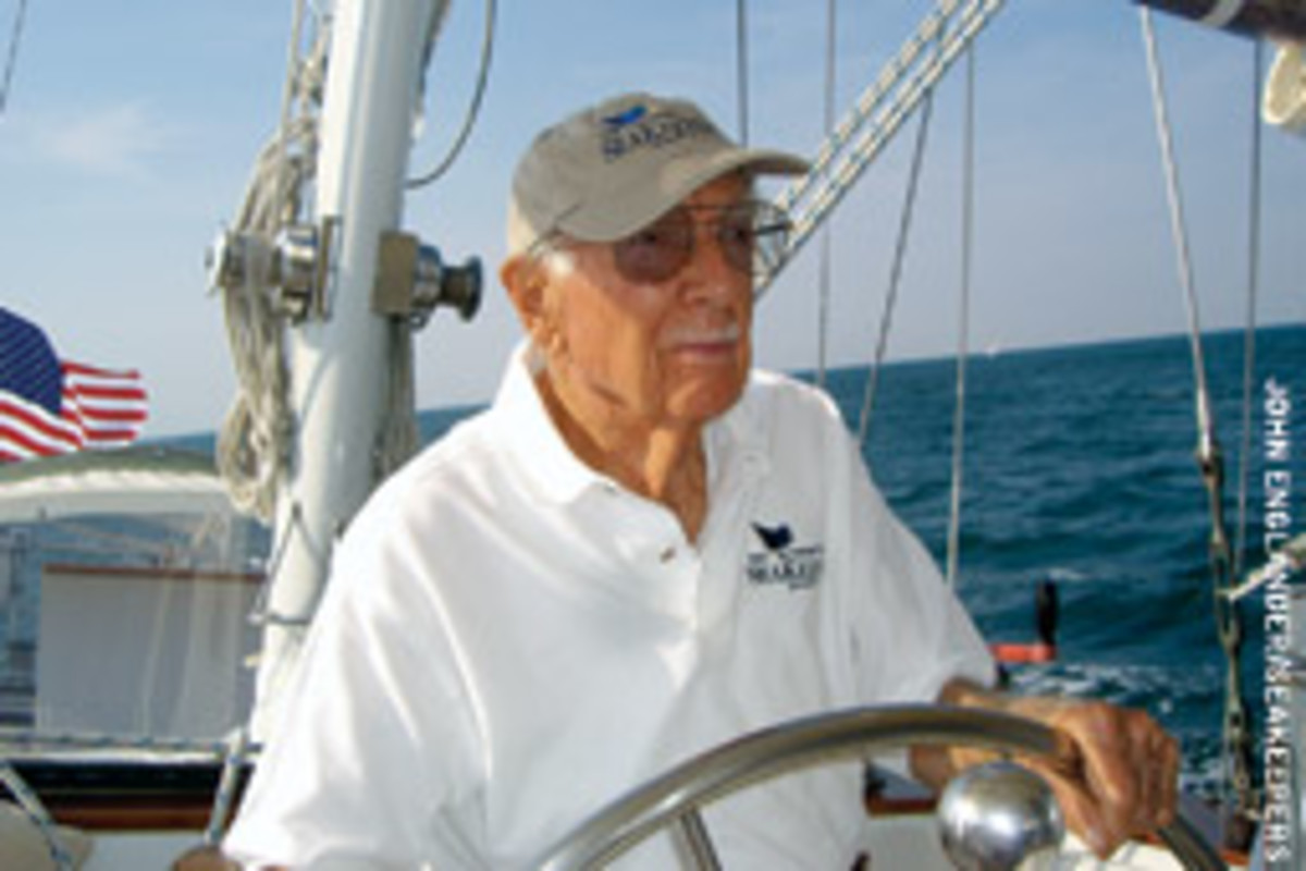 Cronkite, at the helm off Martha's Vineyard in August 2006, was an honorary member of the International SeaKeepers Society.