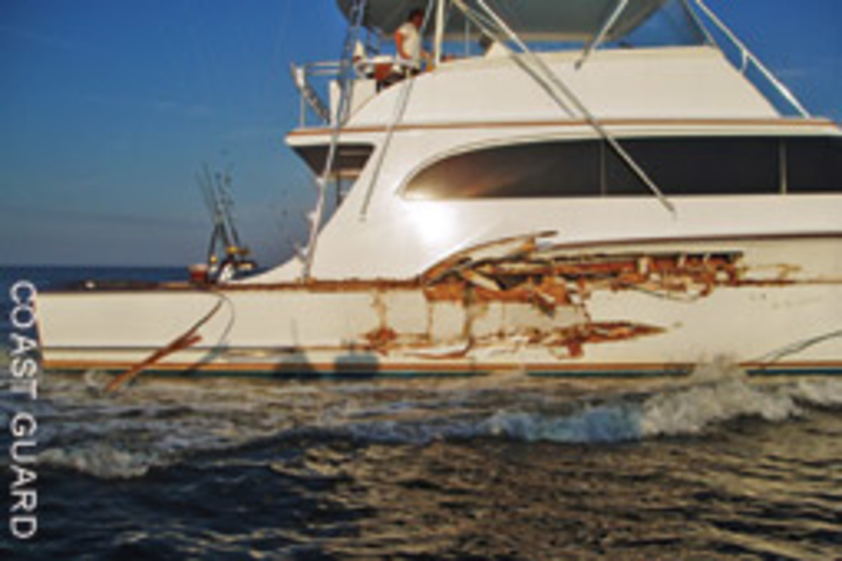 This boat tangled with the Bonner Bridge while transiting Oregon Inlet in North Carolina.