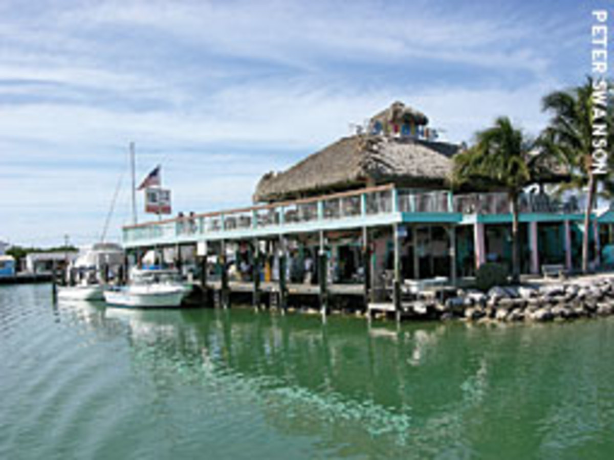 Burdines is a popular watering hole and eatery at the entrance to Boot Key Harbor.