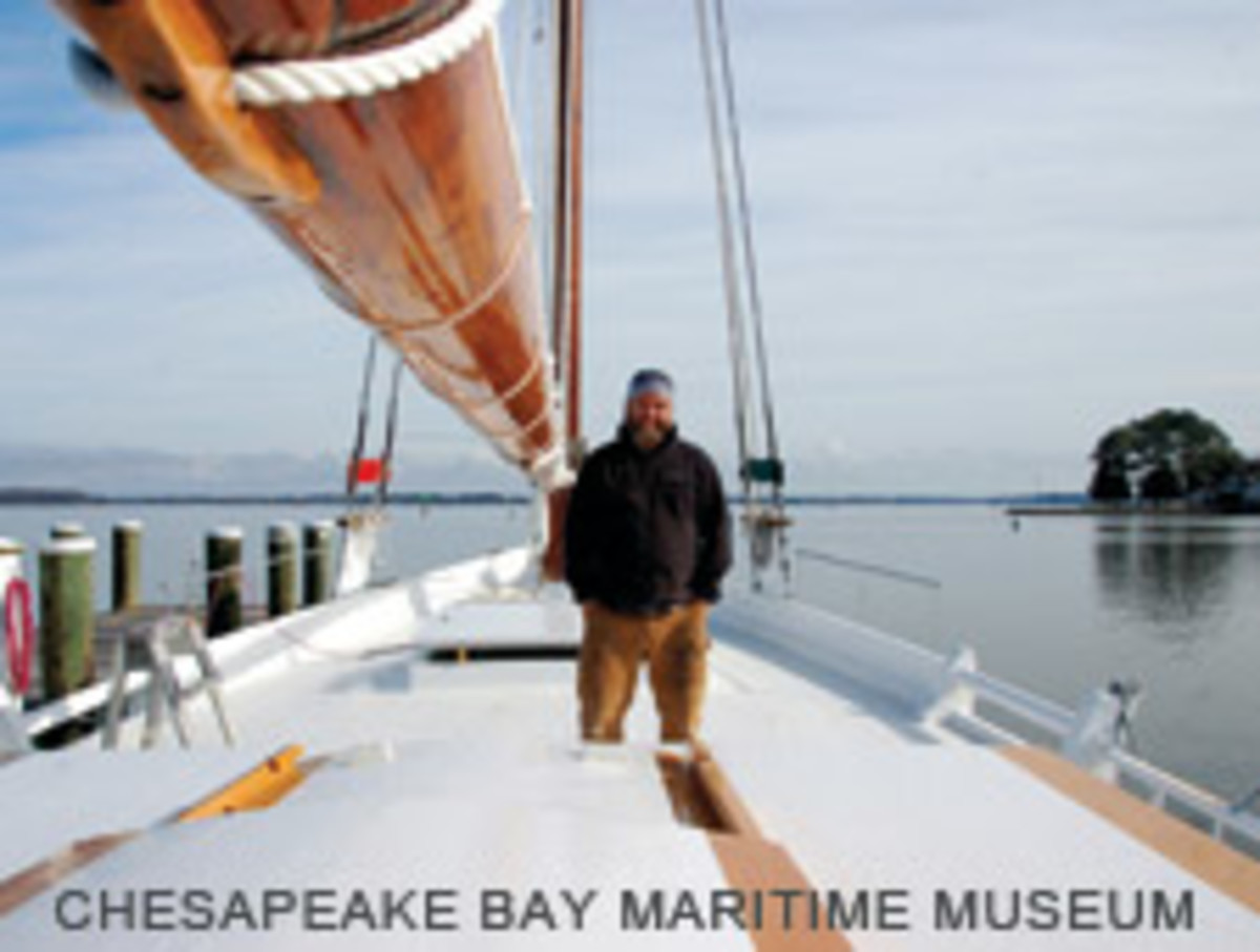Project manager Mark Donohue aboard the restored skipjack Rosie Parks
