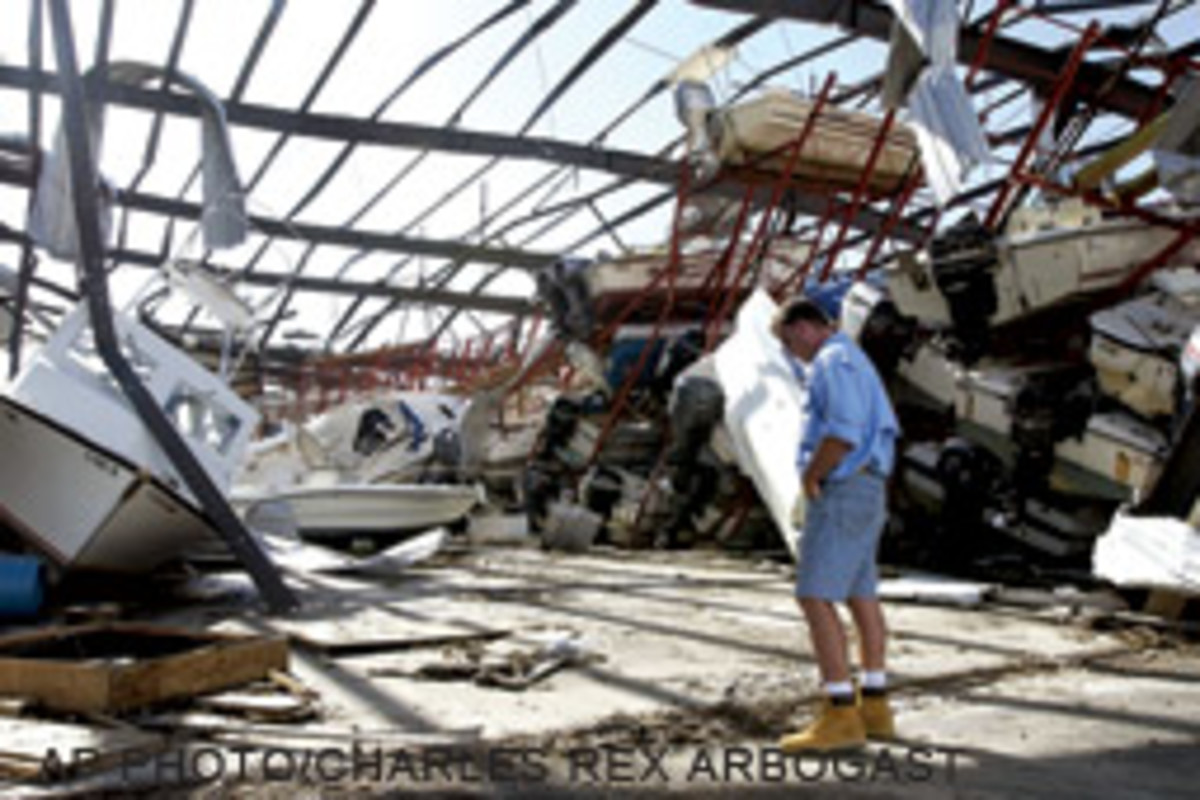 The dry-stack building at Pineland Marina in Bokeelia, Fla., was destroyed during Hurricane Charley.
