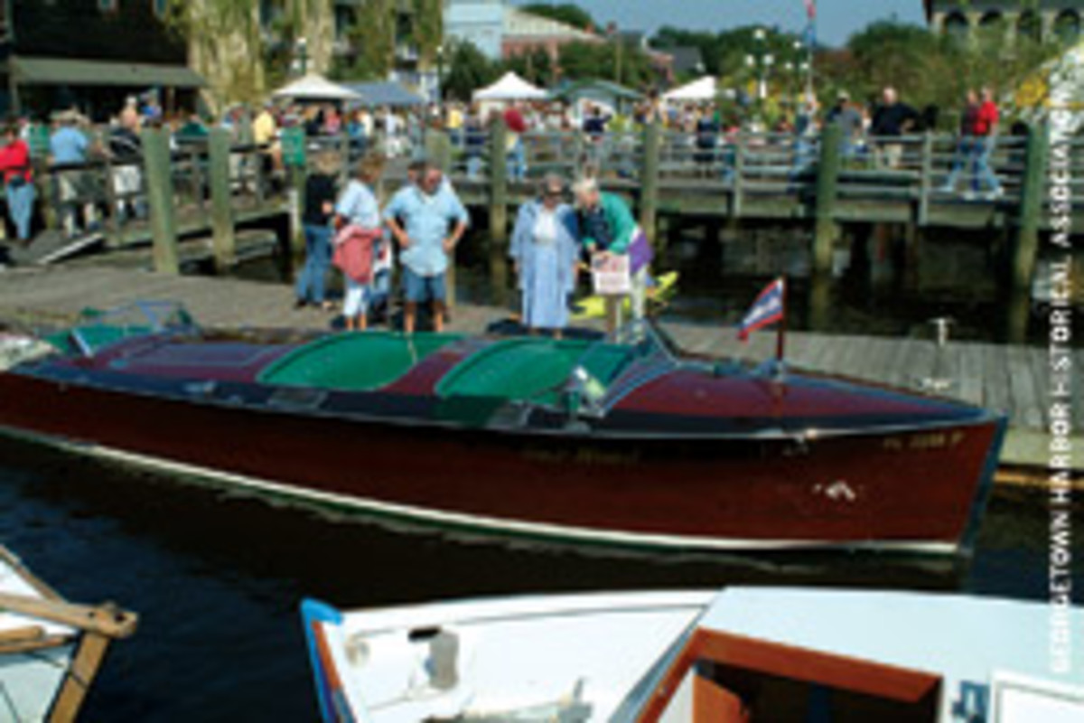 Rarely seen boats such as this Gar Wood runabout can be inspected at the Georgetown Wooden Boat Show in South Carolina.
