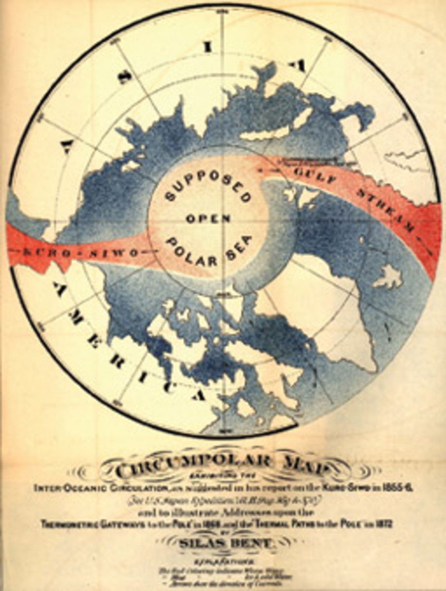 A map by Silas Bent illustrates the popular idea of an open polar sea girdled by ice.