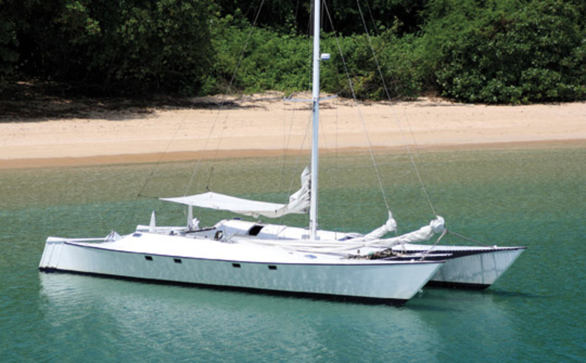 Taboo III is the third catamaran built by Wolfgang Hausner, who has been advocatiing self-reliance at sea since he started cruising in the late 1960s.