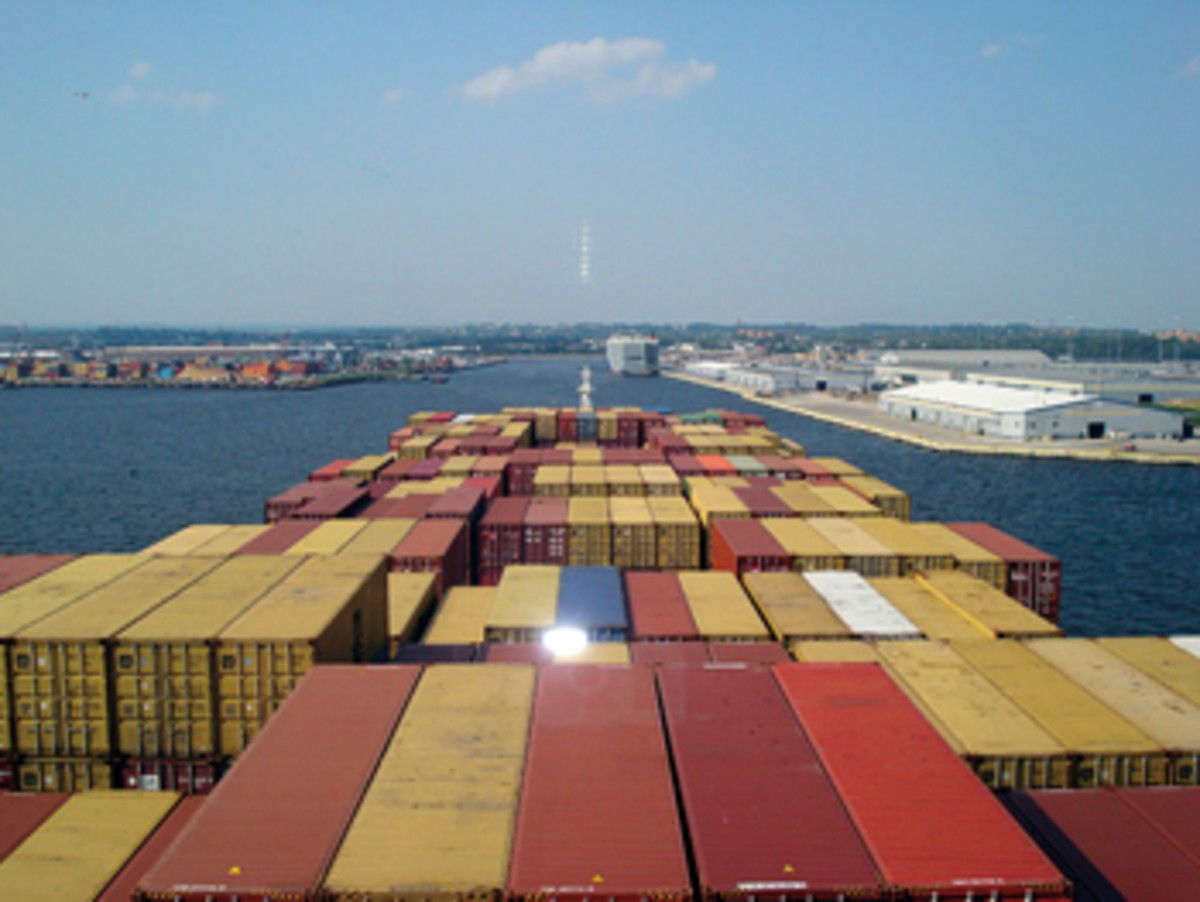 This is the view from the bridge of the container ship M.S.C. Marianna as she approaches the Seagirt Marine Terminal. You can just make out the bow over the Conex boxes stacked on deck.