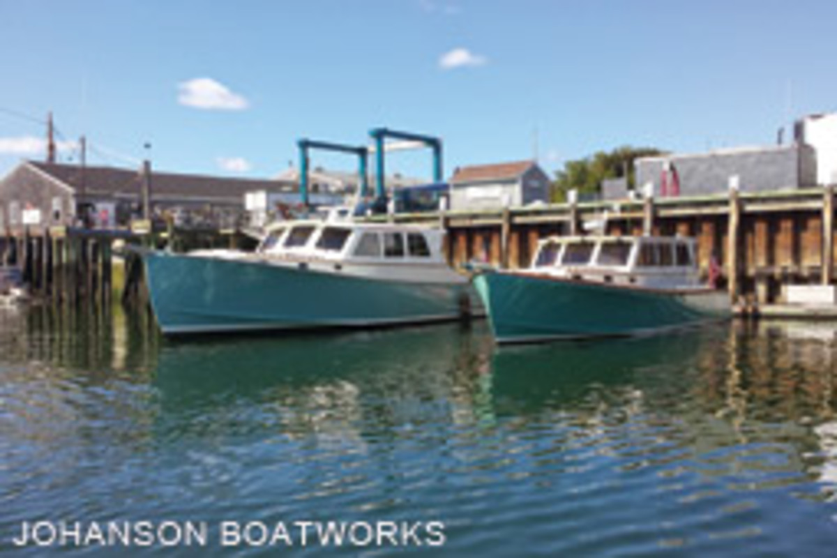 Deupree's Wesmac 50 and 38 are a pretty pair at Johanson Boatworks in Rockland, Maine.