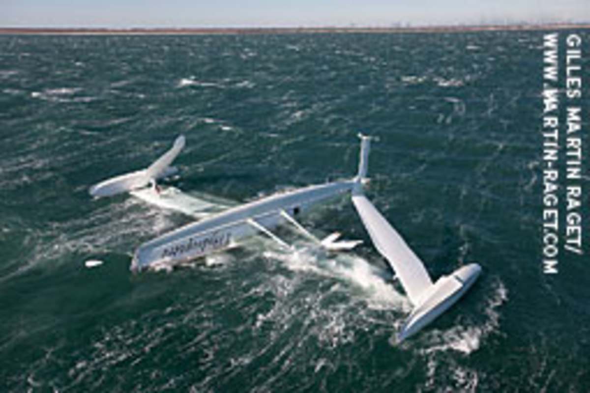 l'Hydroptere was attempting to beat the overall sailing speed record off Port Saint Louis du Rhone in the South of France.