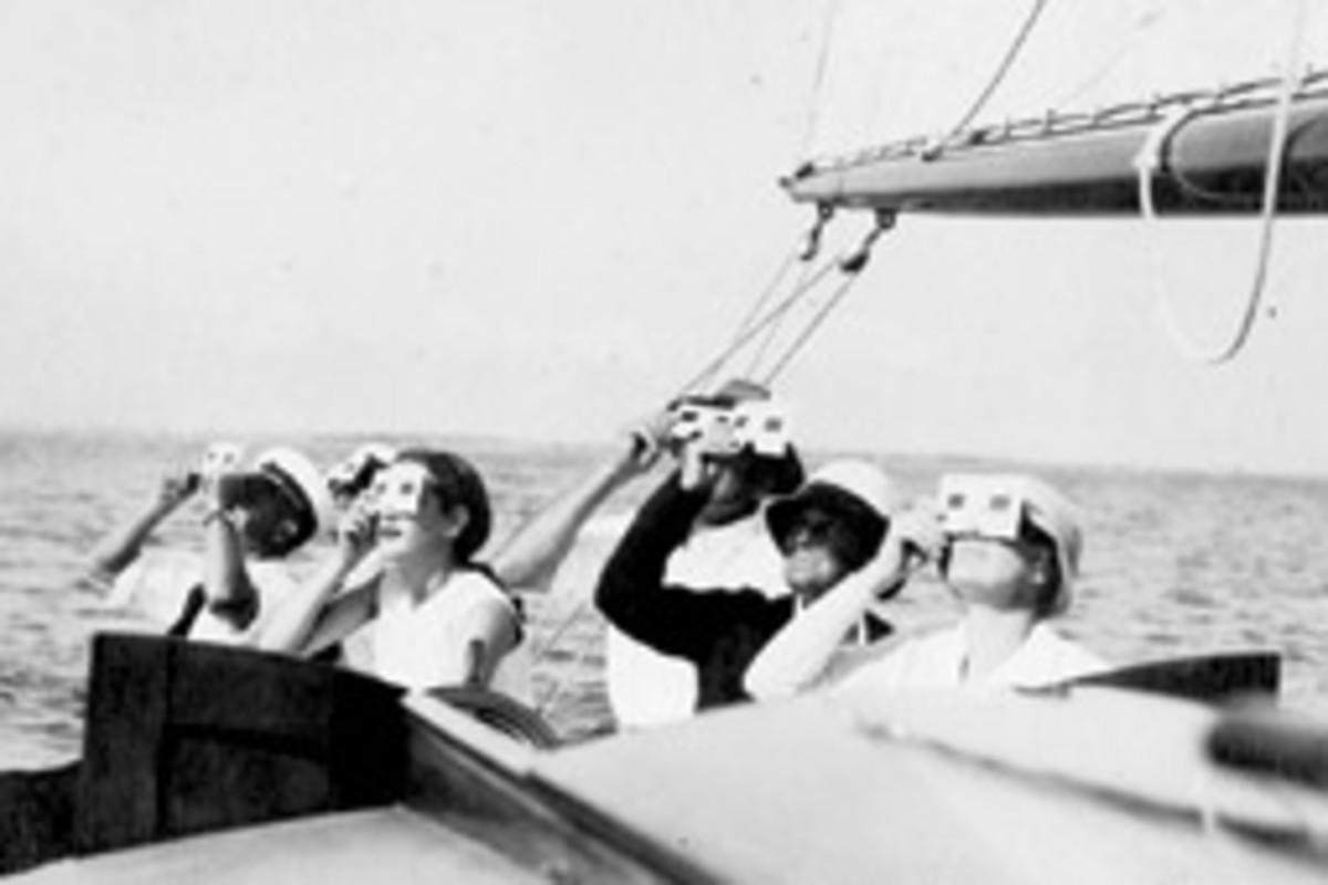 This photo from the New Bedford Whaling Museum's Precoott Collection shows boaters viewing a solar eclipse in Waxahatchie, Texas, in 1932.