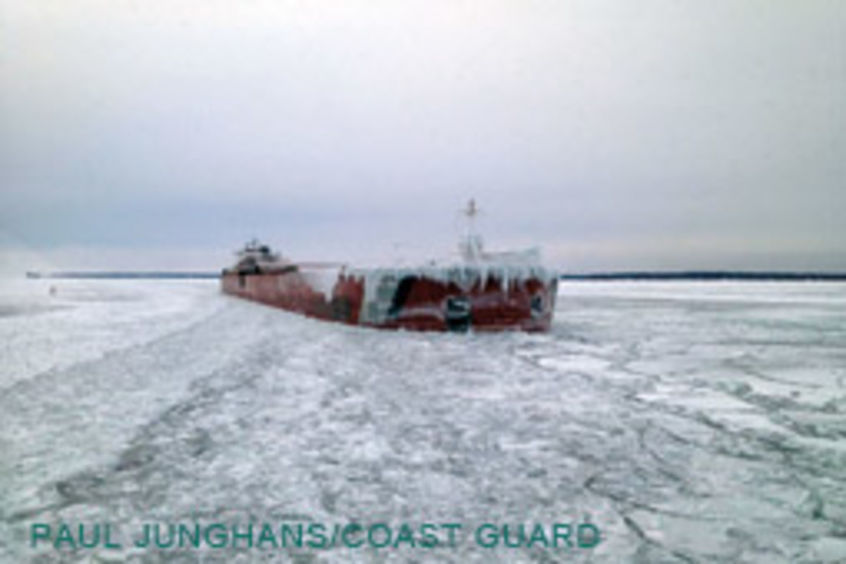 The 1,000-foot tug/barge Presque Isle, stuck in the ice south of Neebish Island, Mich.