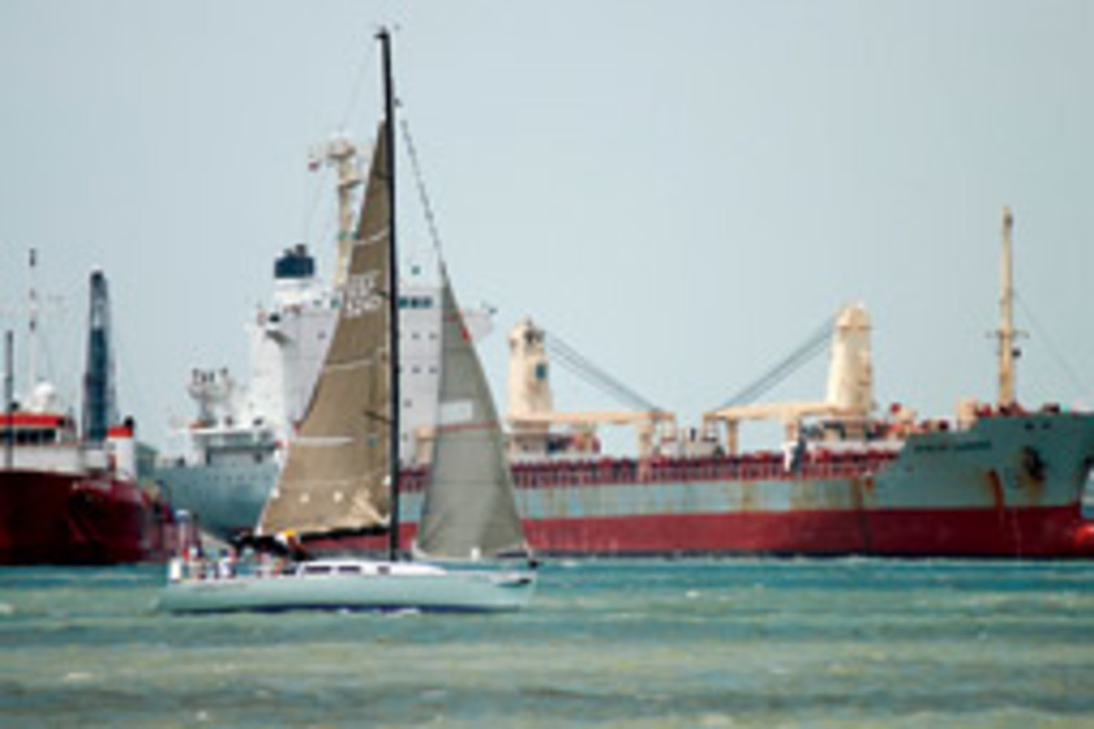 Cynthia Woods heads out of Galveston Bay on her way to the fateful Regatta de Amigos in June 2008.