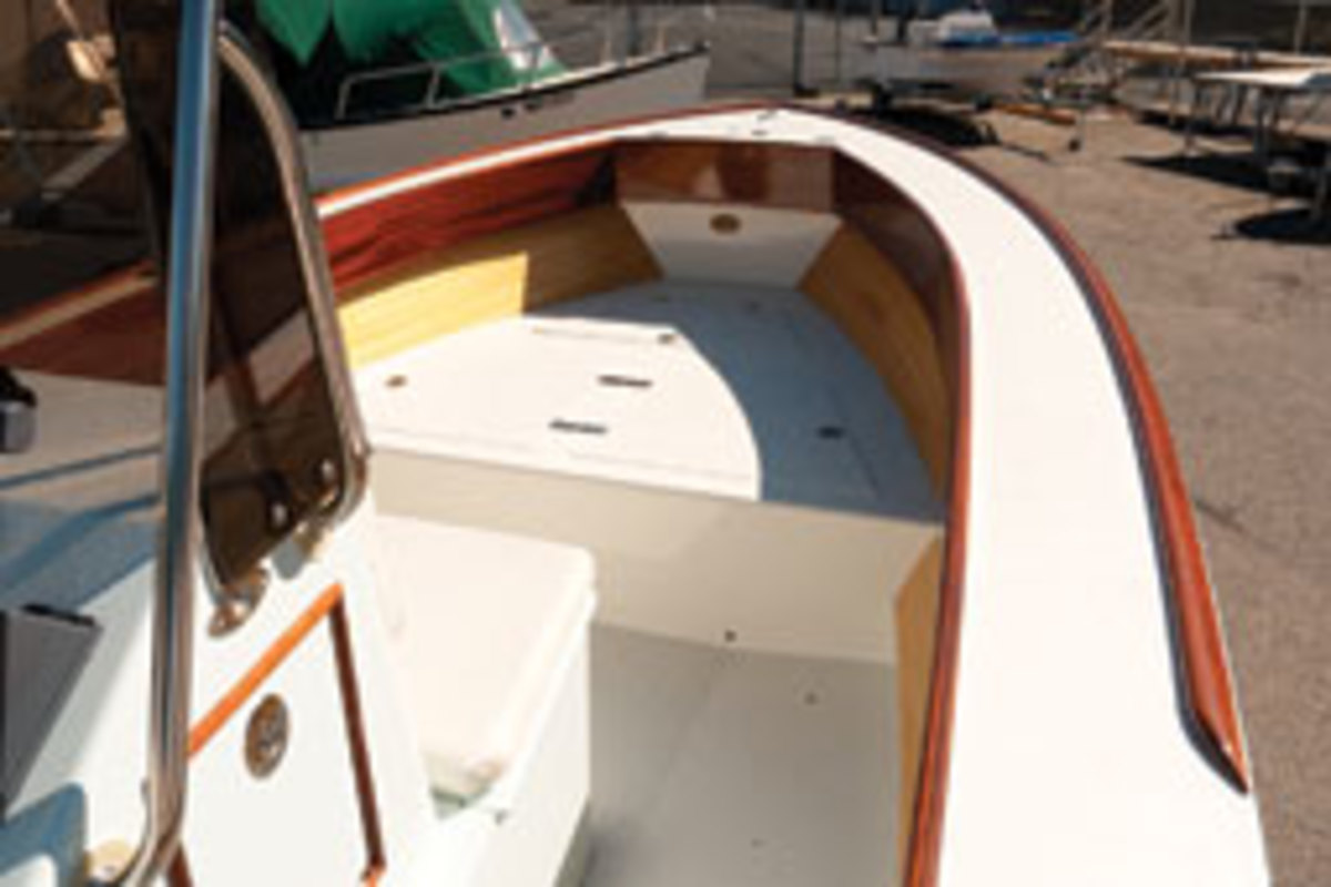 The Flyfisher has a varnished mahogany transom and Sipo coamings.