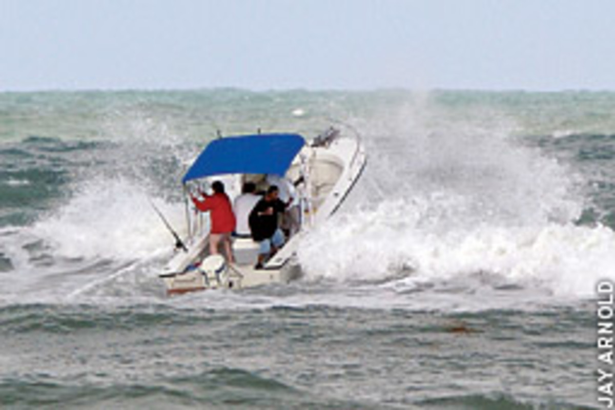 Listening and watching for weather changes can help you avoid situations like this one, where the right combination of wind, swell and tide can make running an inlet a dangerous proposition.