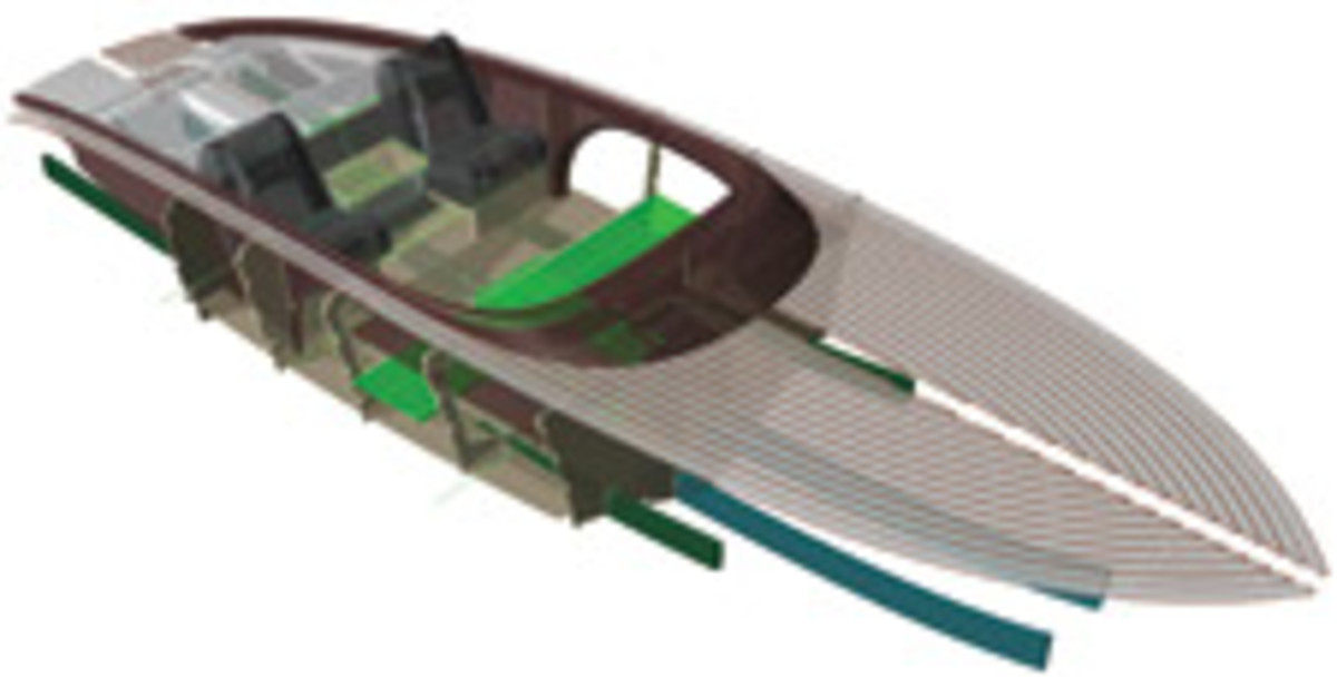 3-D computer-aided design of the Pandion 25 runabout