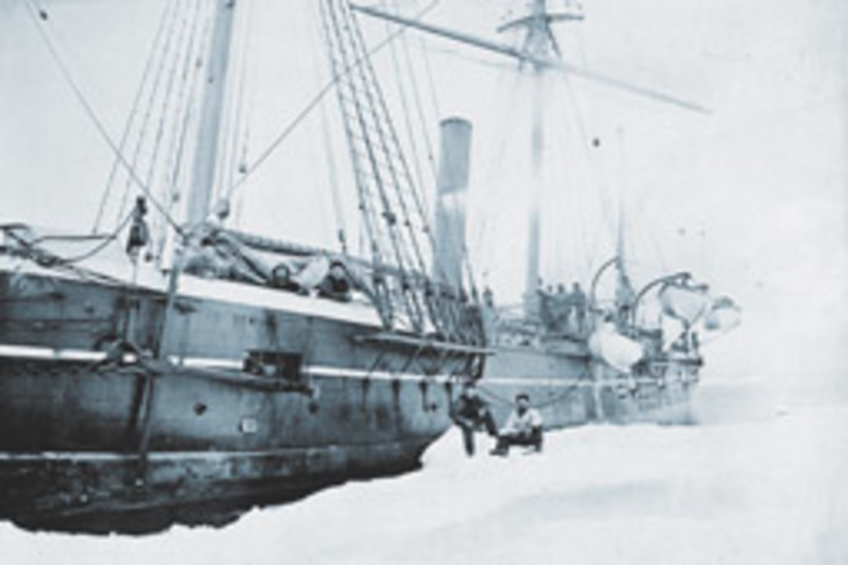 The USS Jeannette, then known as the Pandora, photographed in Greenland in the mid-1870s.