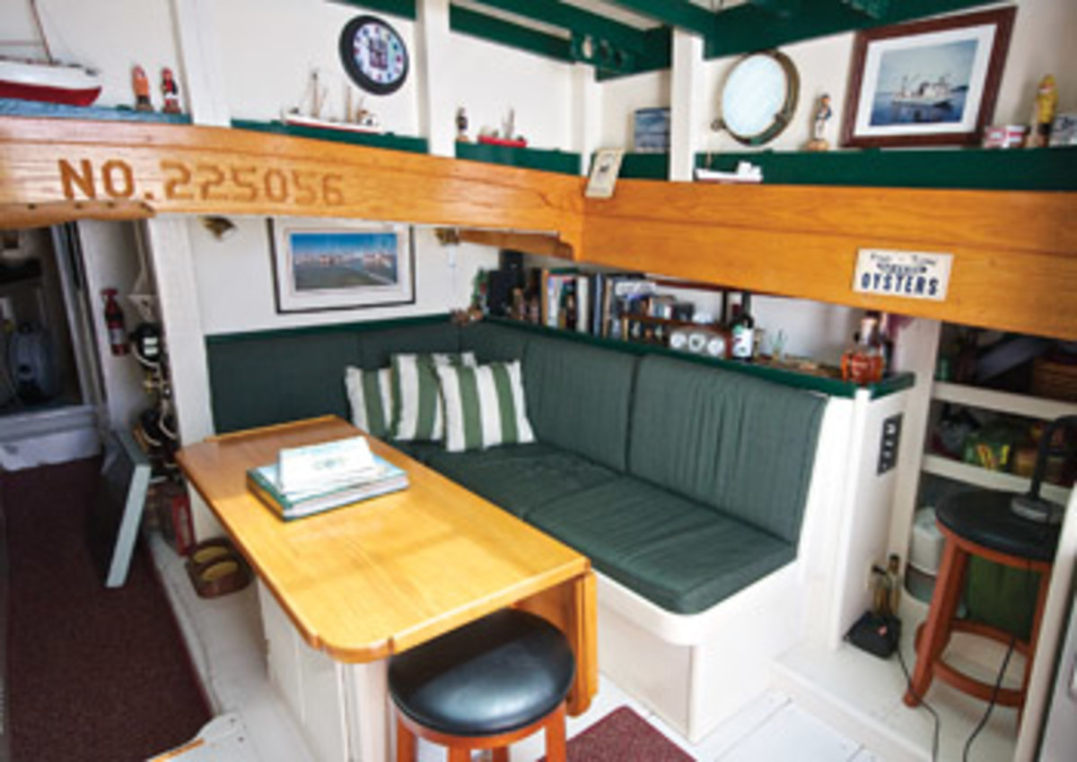 The dinette in PropWash's main saloon, which also has a full galley.