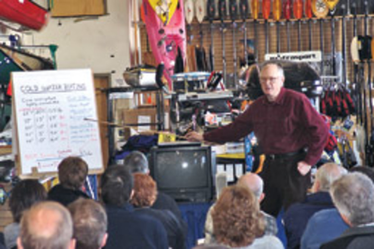 Cold water expert Charles Sutherland explains what it takes to survive in cold water to attendees at a recent workshop.