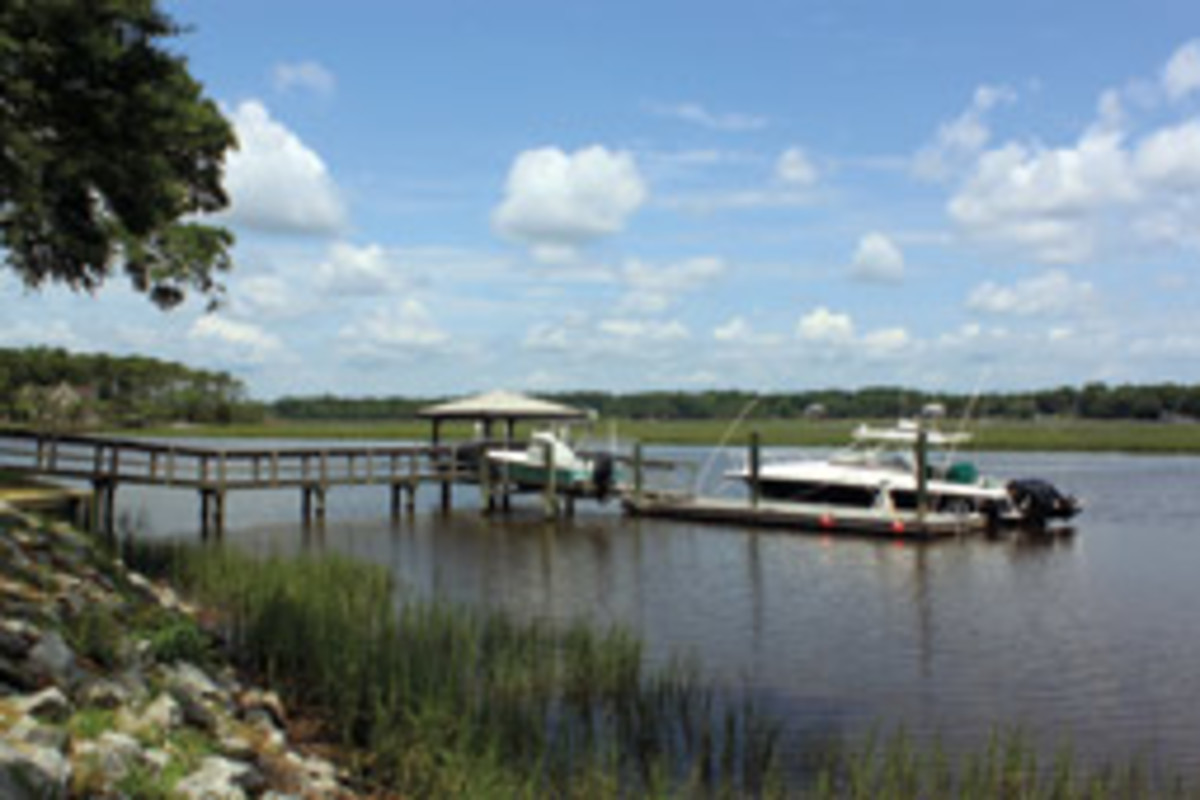 The dock gives the Brooms unobstructed access to many creeks and the open water of St. Helena Sound, 2 miles downstream.