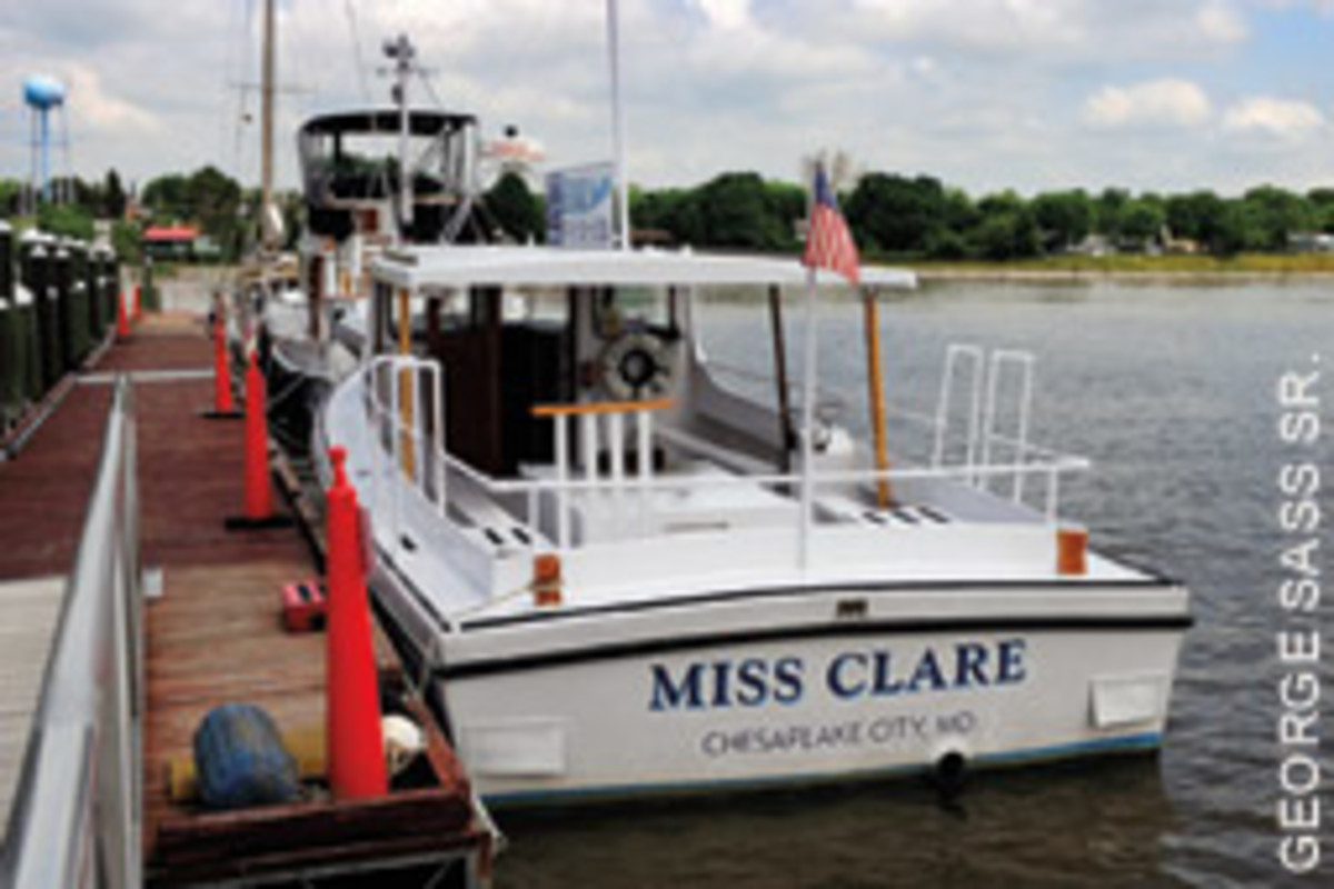 Miss Claire, a deadrise, takes advantage of Chesapeake City's small but free public dock.