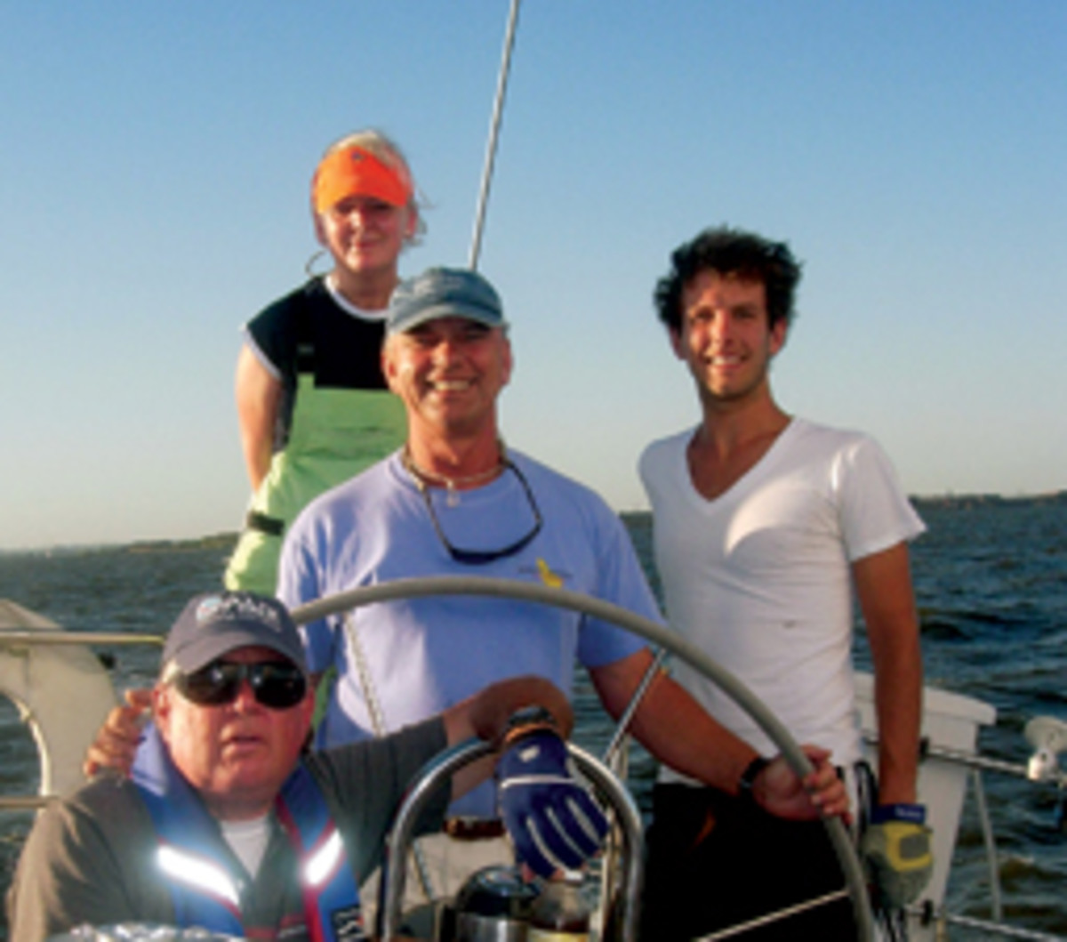 Skipper Larry Vazzano, at the helm, and crew were returning from a day of racing when they spotted fellow mariners in distress.