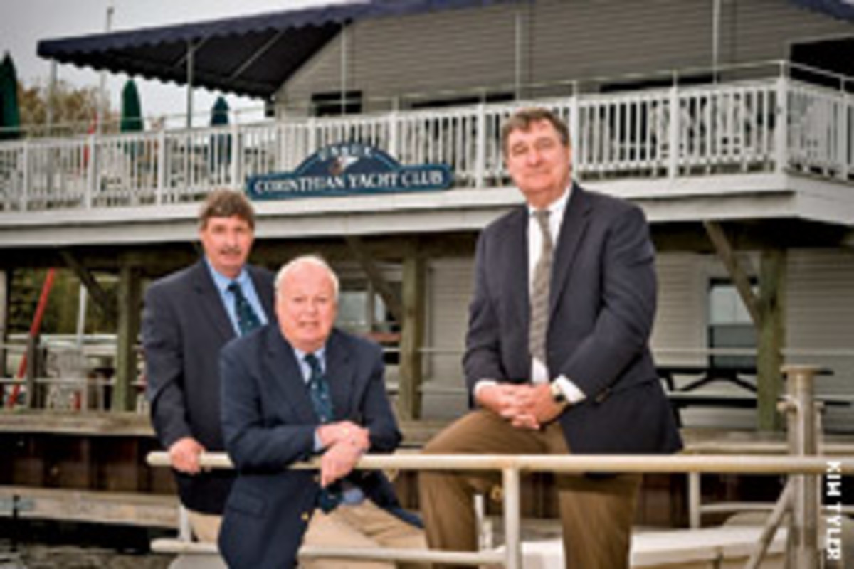 A.J. Wasley ( from left) Dennis Walker, and Dan Daniels were part of the orginal group that founded the Essex Corinthian Yacht Club 25 years ago.