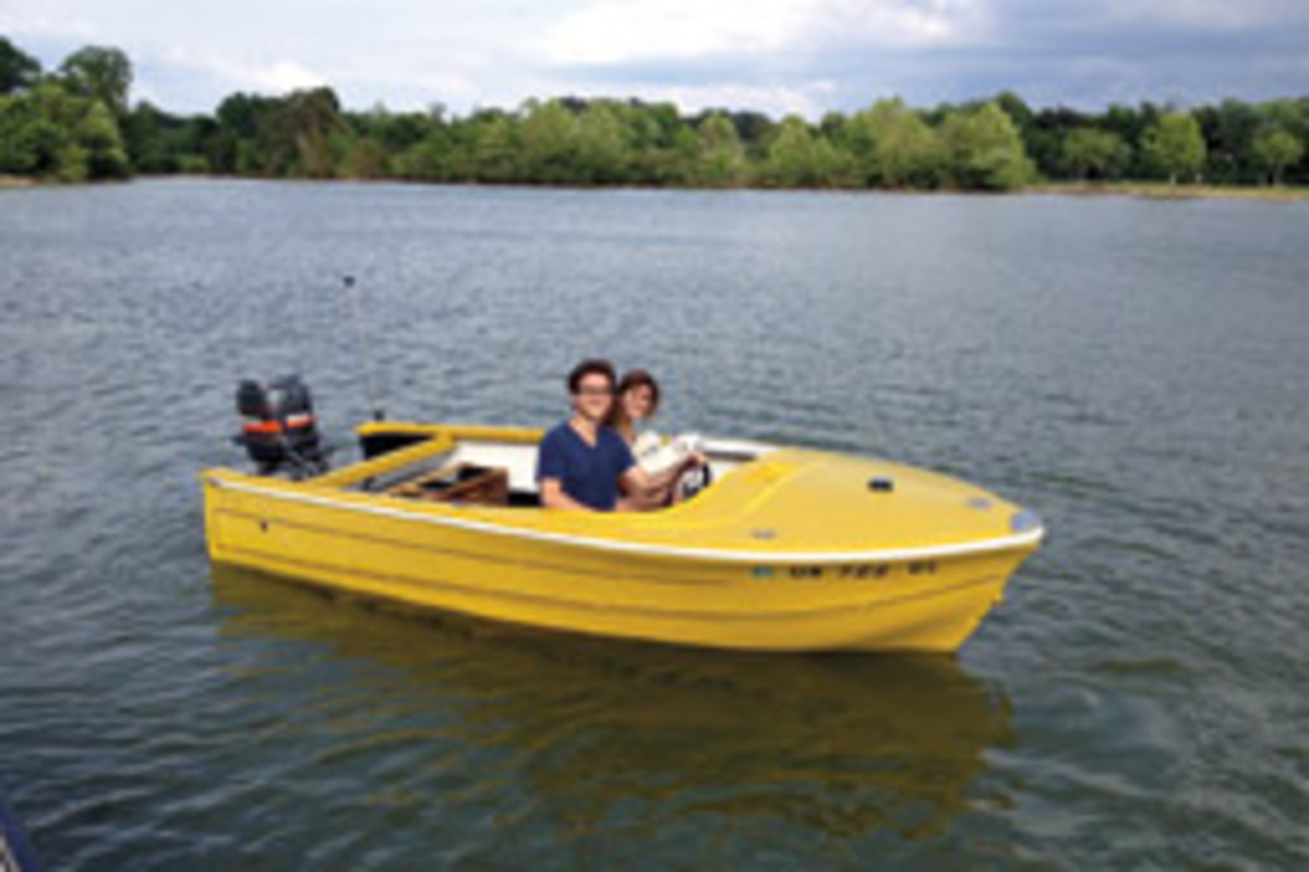 Constantinou's son, Valentino, and daughter, Alexandra, take the family project boat, a Seaswirl P14, for a spin.