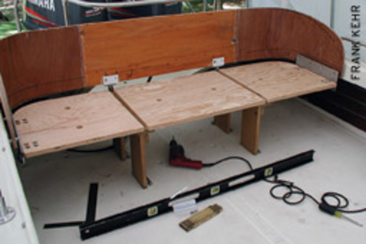 The writer used his metal- and woodworking skills to build a new aft seat for his 1972 Boston Whaler Outrage 21. He made the curved sections using the old seat as a form.