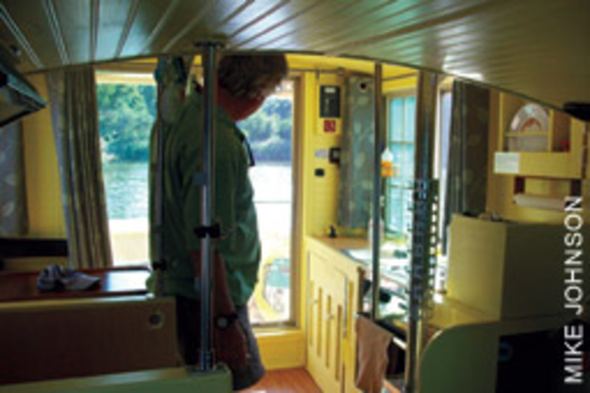 With 6 feet, 3 inches of headroom, Lilypad is a step up from the living conditions aboard Fernon's Sailmaster 22C.