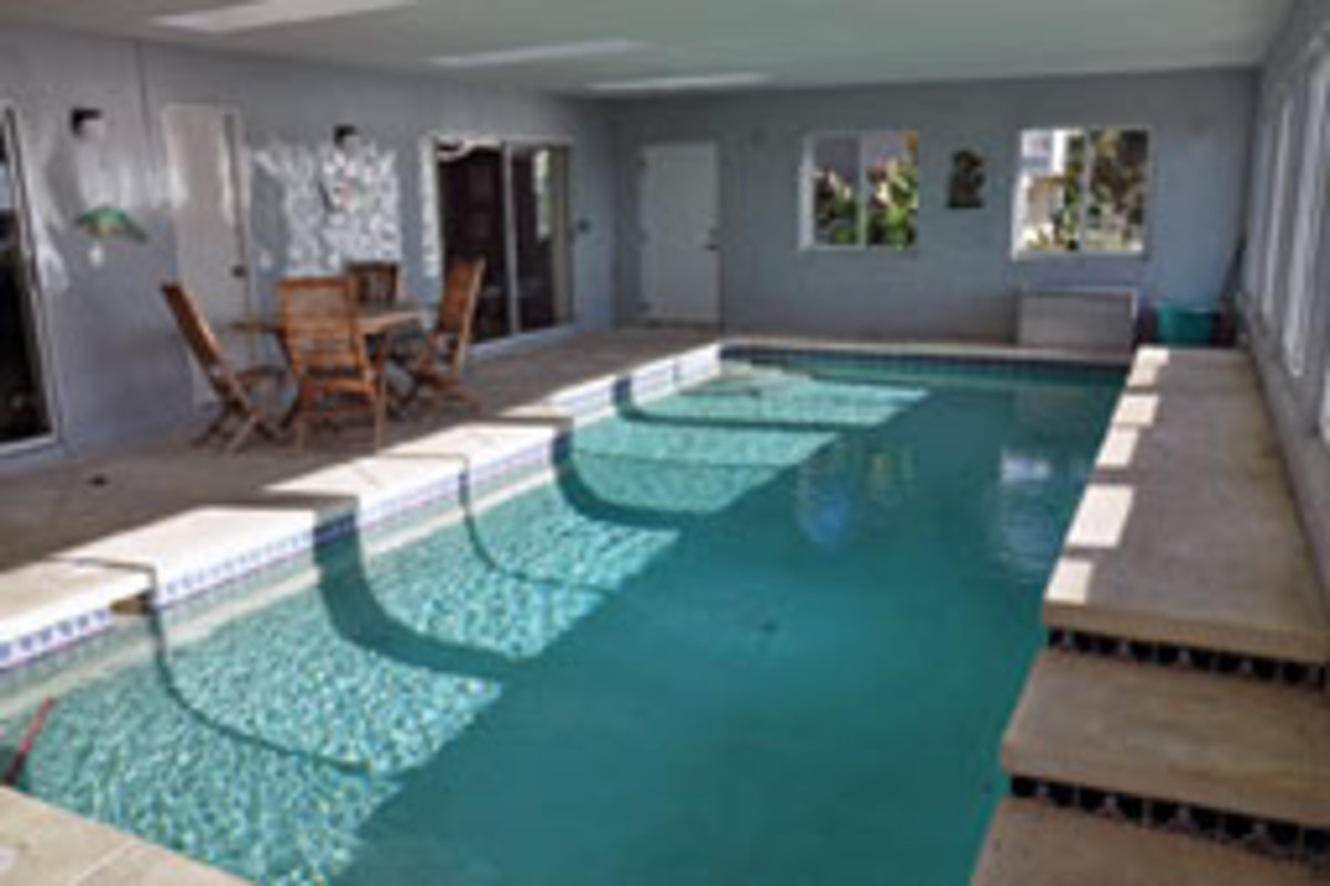 The indoor swimming pool is solar-heated.
