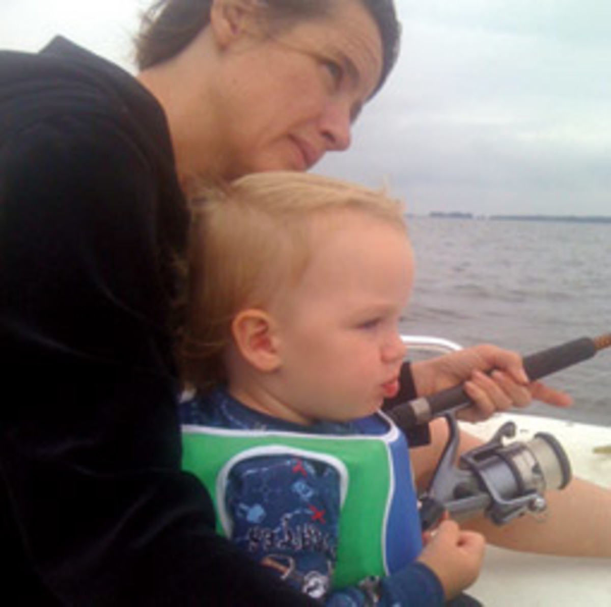 Contessa Riggs and her son Conrad, 3, spent eight hours in the water.