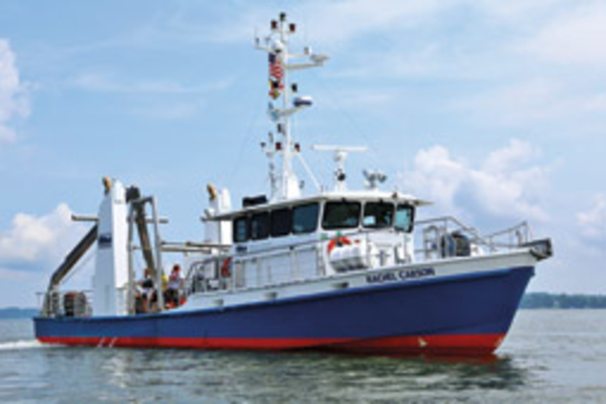The University of Maryland Center for Environmental Science supplied the researsh vessel Rachel Carson to conduct anchor tests.