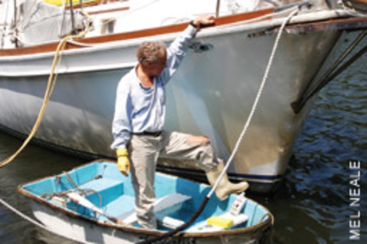 Tom would rather not shell out a fistful of dollars to have someone else do his boat work.